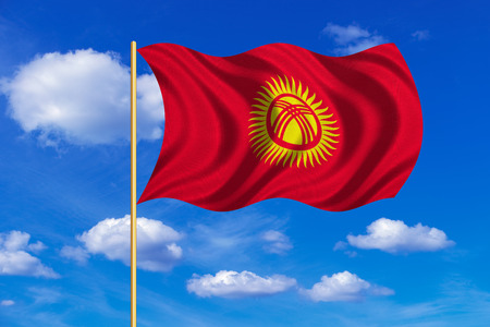 kyrgyzstan: Kyrgyzstani national official flag. Patriotic symbol, banner, element, background. Correct colors. Flag of Kyrgyzstan on flagpole waving in the wind, blue sky background. Fabric texture