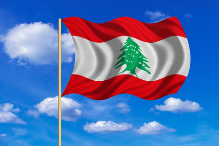 lebanese: Lebanese national official flag. Patriotic symbol, banner, element, background. Correct colors. Flag of Lebanon on flagpole waving in the wind, blue sky background. Fabric texture