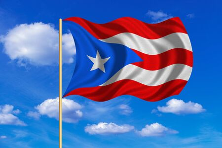puerto rican flag: Puerto Rican national official flag. Patriotic symbol, banner, element, background. Correct colors. Flag of Puerto Rico on flagpole waving in the wind, blue sky background. Fabric texture