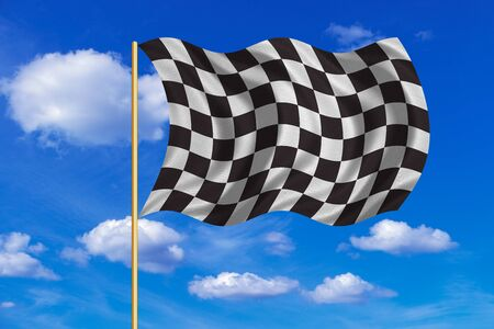 Checkered racing flag. Symbolic design of end of car race. Black and white background. Checkered flag on flagpole waving in the wind, blue sky background. Fabric texture Stock Photo