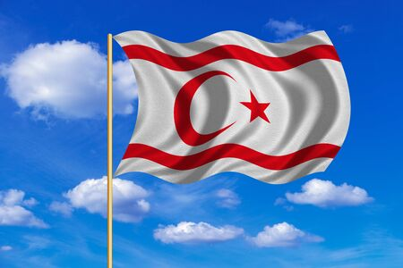 Northern Cyprus national official flag. TRNC patriotic symbol, banner. Correct colors. Flag of Turkish Republic of Northern Cyprus on flagpole waving in the wind, blue sky background. Fabric texture