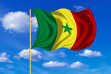 senegalese: Senegalese national official flag. African patriotic symbol, banner, element, background. Correct colors. Flag of Senegal on flagpole waving in the wind, blue sky background. Fabric texture