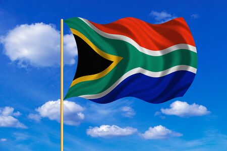 South African national official flag. Patriotic symbol, banner, element, background. Correct colors. Flag of South Africa on flagpole waving in the wind, blue sky background. Fabric texture Stock Photo