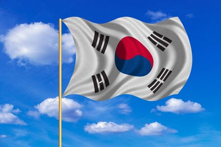 korean national: South Korean national official flag. Patriotic symbol, banner, element, background. Correct colors. Flag of South Korea on flagpole waving in the wind, blue sky background. Fabric texture