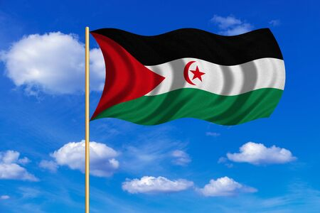 sahrawi arab democratic republic: Sahrawi national official flag. Western Sahara patriotic symbol. SADR banner. Correct color. Flag of Sahrawi Arab Democratic Republic on flagpole waving in the wind blue sky background. Fabric texture