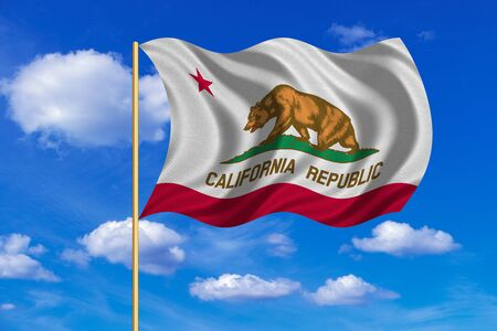 californian: Flag of the US state of California. American patriotic element. USA banner. United States of America symbol. Californian official flag on flagpole waving in the wind blue sky background Fabric texture Stock Photo