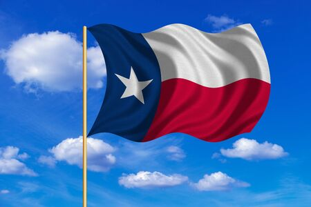 texan: Flag of the US state of Texas. American patriotic element. USA banner. United States of America symbol. Texan official flag on flagpole waving in the wind, blue sky background. Fabric texture Stock Photo