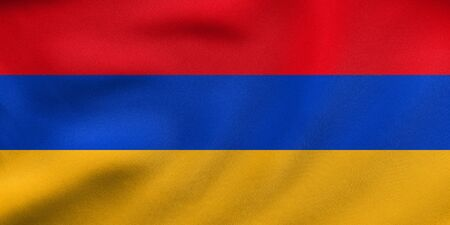 armenian: Armenian national official flag. Patriotic symbol, banner, element, background. Correct colors. Flag of Armenia waving in the wind, real detailed fabric texture. 3D illustration