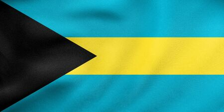 bahamian: Bahamian national official flag. Patriotic symbol, banner, element, background. Correct colors. Flag of Bahamas waving in the wind, real detailed fabric texture. 3D illustration