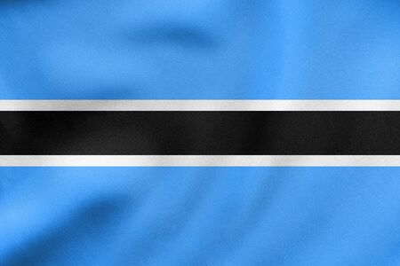 Botswanan national official flag. African patriotic symbol, banner, element, background. Correct colors. Flag of Botswana waving in the wind, real detailed fabric texture. 3D illustration Stock Photo