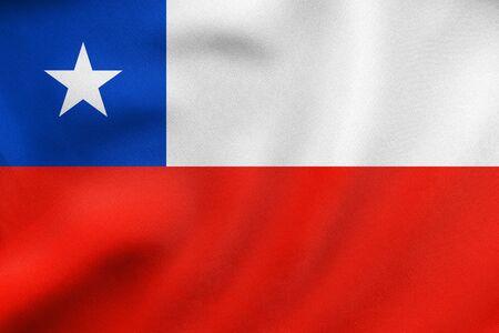 bandera chilena: bandera oficial chilena. símbolo patriótico, bandera, elemento, fondo. tamaño correcto, colores. Bandera de Chile ondeando en el viento, la verdadera textura detallada de la tela. ilustración 3D