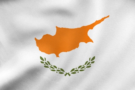 Cypriot national official flag. Patriotic symbol, banner, element, background. Correct colors. Flag of Cyprus waving in the wind, real detailed fabric texture. 3D illustration