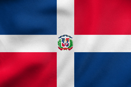 antilles: Dominican Republic national official flag. Patriotic symbol, banner, element, background. Correct colors. Flag of Dominican Republic waving in the wind, real detailed fabric texture. 3D illustration