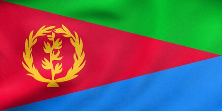 Eritrean national official flag. African patriotic symbol, banner, element, background. Correct colors. Flag of Eritrea waving in the wind, real detailed fabric texture. 3D illustration