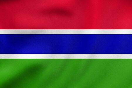 gambia: Gambian national official flag. African patriotic symbol, banner, element, background. Correct colors. Flag of the Gambia waving in the wind, real detailed fabric texture. 3D illustration