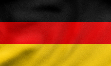 German national official flag. Patriotic symbol, banner, element, background. Correct size, colors. Flag of Germany waving in the wind, real detailed fabric texture. 3D illustration