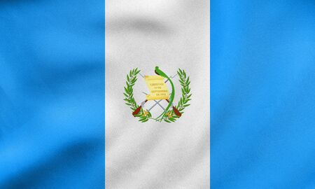 guatemalan: Guatemalan national official flag. Patriotic symbol, banner, element, background. Correct colors. Flag of Guatemala waving in the wind, real detailed fabric texture. 3D illustration
