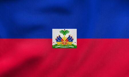 official: Haitian national official flag. Patriotic symbol, banner, element, background. Correct size, colors. Flag of Haiti waving in the wind, real detailed fabric texture. 3D illustration