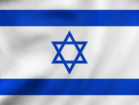 Israeli national official flag. Patriotic symbol, banner, element, background. Correct colors. Flag of Israel waving in the wind, real detailed fabric texture. 3D illustration Stock Photo