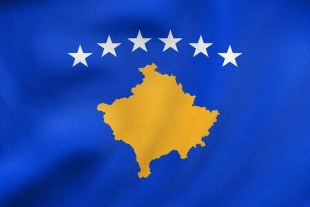 Kosovan national official flag. Patriotic symbol, banner, element, background. Correct colors. Flag of Kosovo waving in the wind, real detailed fabric texture. 3D illustration Stock Photo