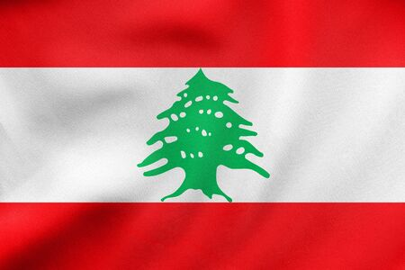 lebanese: Lebanese national official flag. Patriotic symbol, banner, element, background. Correct colors. Flag of Lebanon waving in the wind, real detailed fabric texture. 3D illustration