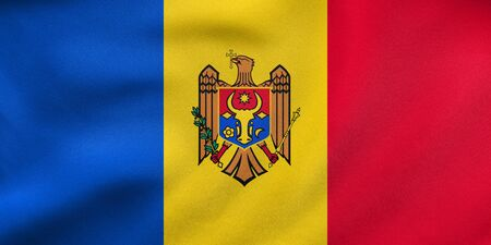 moldovan: Moldovan national official flag. Patriotic symbol, banner, element, background. Correct colors. Flag of Moldova waving in the wind, real detailed fabric texture. 3D illustration