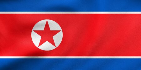 North Korean national official flag. Patriotic DPRK symbol, banner, element, background. Correct colors. Flag of North Korea waving in the wind, real detailed fabric texture. 3D illustration