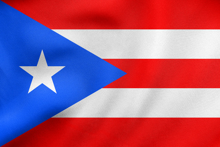 rican: Puerto Rican national official flag. Patriotic symbol, banner, element, background. Correct colors. Flag of Puerto Rico waving in the wind, real detailed fabric texture. 3D illustration Stock Photo
