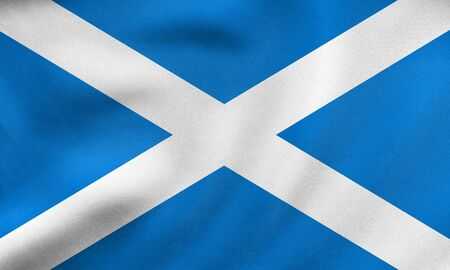 Scottish national official flag. Patriotic symbol, banner, element, background. Correct size, colors. Flag of Scotland waving in the wind, real detailed fabric texture. 3D illustration