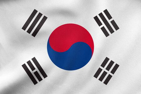 korean national: South Korean national official flag. Patriotic symbol, banner, element, background. Correct size, colors. Flag of South Korea waving in the wind, real detailed fabric texture. 3D illustration Stock Photo