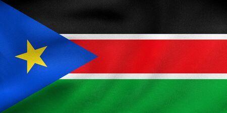 South Sudanese national official flag. African patriotic symbol, banner, element, background. Correct colors. Flag of South Sudan waving in the wind, real detailed fabric texture. 3D illustration