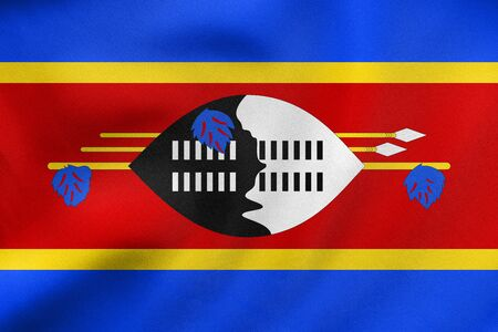 Swazi national official flag. African patriotic symbol, banner, element, background. Correct colors. Flag of Swaziland waving in the wind, real detailed fabric texture. 3D illustration