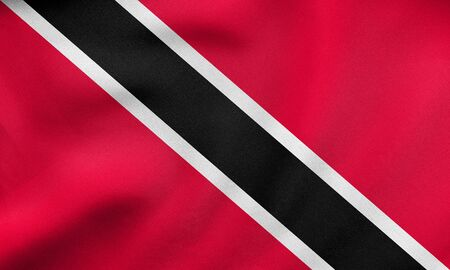 trinidadian: Trinidadian and Tobagonian national official flag. Patriotic symbol, banner, element, background. Correct colors. Flag of Trinidad and Tobago waving in wind, detailed fabric texture. 3D illustration