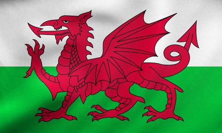 Welsh nationale officiële vlag. Patriottische symbool, banner, element, achtergrond. Juiste grootte, kleuren. Vlag van Wales wapperen in de wind, echte gedetailleerde stof textuur. 3D illustratie
