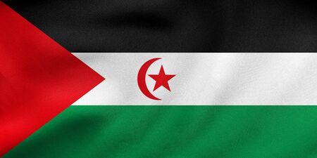 sahrawi arab democratic republic: Sahrawi national official flag. Western Sahara patriotic symbol. SADR banner, element, background. Correct color. Flag of Sahrawi Arab Democratic Republic waving in wind fabric texture 3D illustration Stock Photo