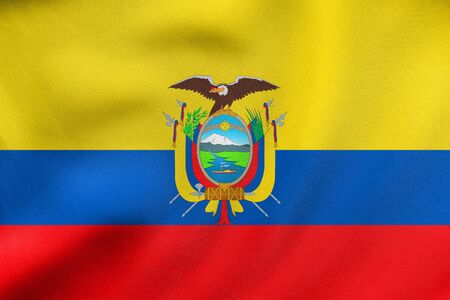 Ecuadorian national official flag. Patriotic symbol, banner, element, background. Correct colors. Flag of Ecuador waving in the wind, real detailed fabric texture. 3D illustration Stock Photo