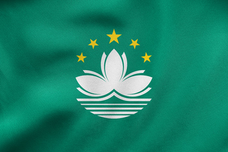 prc: Macanese official flag. Patriotic chinese symbol, banner, element, background. Macau is special region of PRC. Correct color. Flag of Macau waving in the wind, detailed fabric texture. 3D illustration