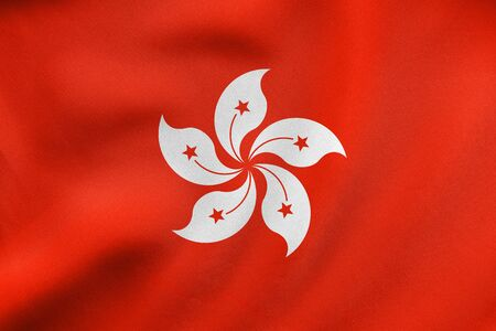 prc: Hong Kongese official flag. Patriotic chinese symbol, banner, element, background. Hong Kong is special region of PRC. Correct colors. Flag of Hong Kong waving in wind, fabric texture. 3D illustration