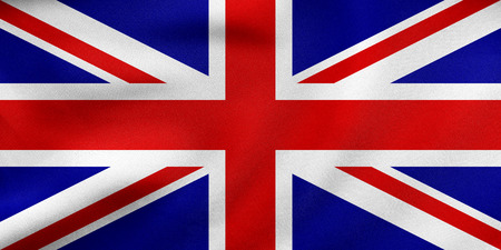 British national official flag. Patriotic UK symbol. Union Jack. Great Britain banner, element, background. Correct colors. Flag of the United Kingdom waving in wind, fabric texture. 3D illustration