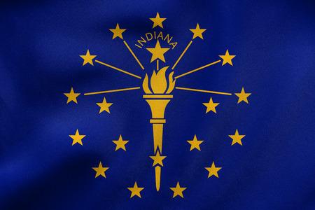 米国インディアナ州の旗。アメリカの愛国心が強い要素。米国のバナーです。アメリカ合衆国のシンボル。Indianian 公式の旗風、実際詳しい生地のテ
