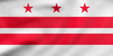 district of columbia: Flag of the District of Columbia. American patriotic element. USA banner. United States of America symbol. Washington, D.C. official flag waving in wind, real detailed fabric texture. 3D illustration Stock Photo