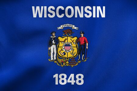 us sizes: Flag of the US state of Wisconsin. American patriotic element. USA banner. United States of America symbol. Wisconsinite official flag waving in the wind, real detailed fabric texture. 3D illustration Stock Photo