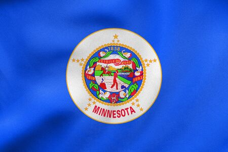 us sizes: Flag of the US state of Minnesota. American patriotic element. USA banner. United States of America symbol. Minnesotan official flag waving in the wind, real detailed fabric texture. 3D illustration