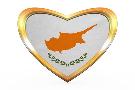 Cypriot national official flag. Patriotic symbol, banner, element, background. Correct colors. Flag of Cyprus in heart shape isolated on white background. Golden frame, fabric texture. 3D illustration