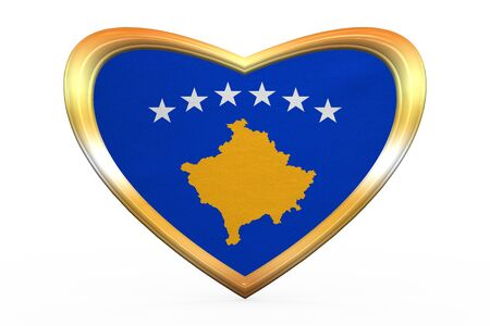 Kosovan national official flag. Patriotic symbol, banner, element, background. Correct colors. Flag of Kosovo in heart shape isolated on white background. Golden frame, fabric texture. 3D illustration Stock Photo