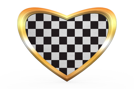 cars race: Checkered racing flag. Symbolic design of end of car race. Black and white background. Checkered flag in heart shape isolated on white background. Golden frame, fabric texture. 3D illustration