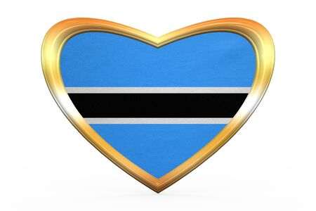 botswanan: Botswanan national official flag. African patriotic symbol, banner, element. Correct colors. Flag of Botswana in heart shape isolated on white background. Golden frame, fabric texture. 3D illustration