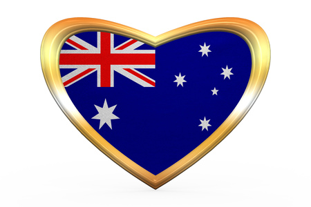 Australian national official flag. Patriotic symbol, banner, element. Correct colors. Flag of Australia in heart shape isolated on white background. Golden frame, fabric texture. 3D illustration