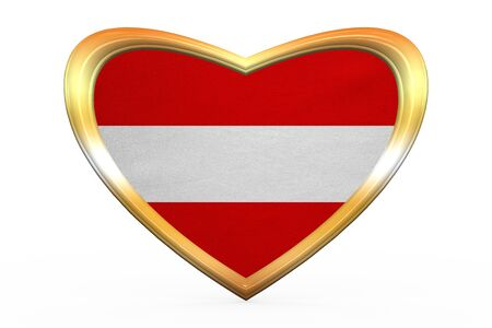 austrian: Austrian national official flag. Patriotic symbol, banner, element, background. Correct color. Flag of Austria in heart shape isolated on white background. Golden frame, fabric texture 3D illustration Stock Photo