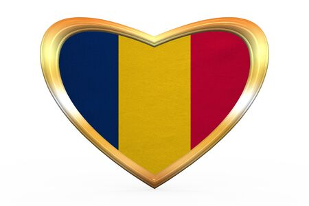 chadian: Chadian national official flag. African patriotic symbol, banner, element. Correct colors. Flag of Chad in heart shape isolated on white background. Golden frame, fabric texture. 3D illustration